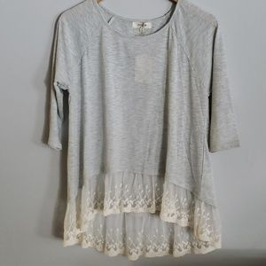 Umgee Lace Trim Tunic Top Grey Medium New